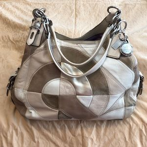 Coach cream leather and suede purse